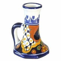 Traditional Talavera Tall Chamberstick Candle Holder