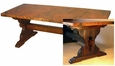 Old Wood Trestle Dining Table with Copper Top