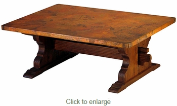 Trestle Coffee Table Rustic Wood with Copper Top