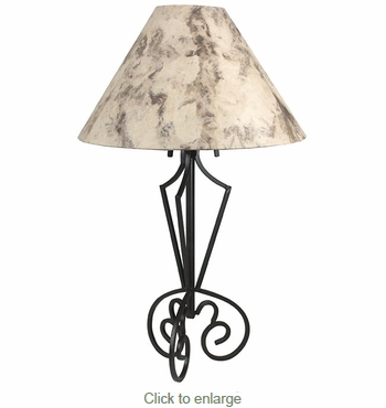 Tri Base Iron Table Lamp with Cream Bark Paper Shade