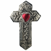 Tri-Level Mexican Tin Cross with Flaming Heart