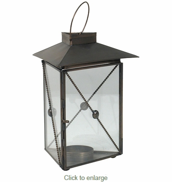 Triangle Aged Tin and Glass Candle Lantern