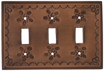 Triple Light Switch Plate - Star Pattern