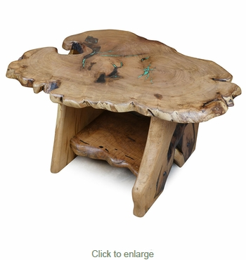 Trunk Slab Mesquite Coffee Table with Turquoise Inlay