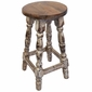 Turned Leg Mexican Painted Wood Bar Stool - White