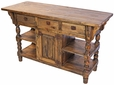 Turned Leg Rustic Wood Kitchen Island with Drawers
