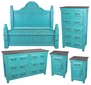 Turquoise Carved Painted Wood 5-Piece Bedroom Set