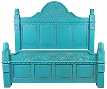 Turquoise Carved Painted Wood Bed