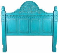 Turquoise Carved Painted Wood Headboard