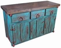Turquoise Painted Wood Mexican Buffet with Thick Doors