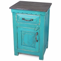 Turquoise Mexican Painted Wood Nightstand - 1 Door, 1 Drawer