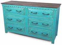 Turquoise Painted Wood 6-Drawer Dresser