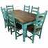 Turquoise Painted Wood Mexican Colonial Dining Set - 7 Piece