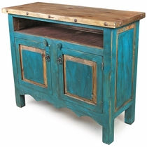 Turquoise Painted Wood TV Entertainment Console