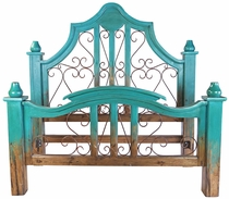 Turquoise Two-Tone Mexican Painted Wood Bed with Wrought Iron Scrolls