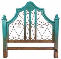 Turquoise Two-Tone Mexican Painted Wood Headboard with Wrought Iron Scrolls