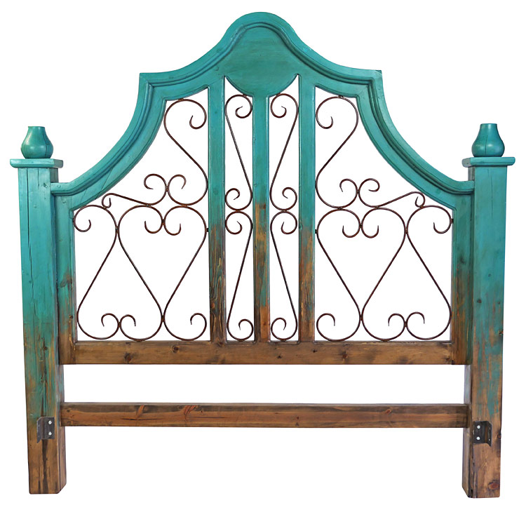 Turquoise Two Tone Mexican Painted Wood Headboard With Wrought Iron Scrolls