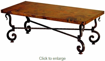 Tuscany Iron Base Coffee Table with Copper Top