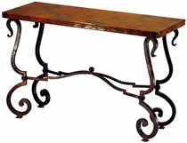Tuscany Iron Base Console with Copper Top