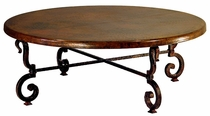 Tuscany Iron Base Round Coffee Table with Copper Top