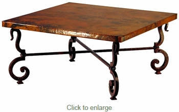 Iron Base Square Coffee Table with Copper Top