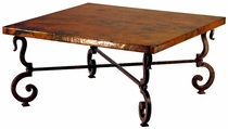 Tuscany Iron Base Square Coffee Table with Copper Top