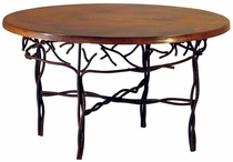 Twig Base Round Dining Table with Copper Top