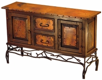 Twig Base Wood and Copper Console - 2 Door 2 Drawer