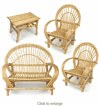 Bent Twig Patio Furniture 4-Piece Set - 2 Chairs, Loveseat and Small Table
