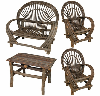 bent twig furniture 4 piece set rustic willow patio set rh directfrommexico com willow twig outdoor furniture cypress twig outdoor furniture