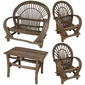 Rustic Twig Furniture 4-Piece Patio Set - With Bark - 2 Chairs, Loveseat and Small Table