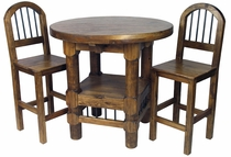 Varnished Brown Bistro Bar Table Set - with 4 Stools