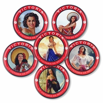 Victoria Mexican Beer Coasters with Vintage Advertising Models - Set of 6