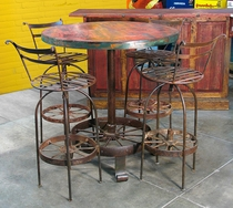 Wagon Wheel Bar Table and 4 Stools
