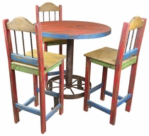 Wagon Wheel Bar Table With 4 Painted Wood Bar Stools