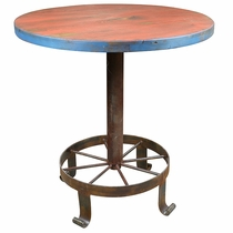 Wagon Wheel Bar Table Wrought Iron Base and Painted Wood Top