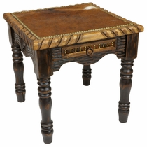 Western Cowhide End Table