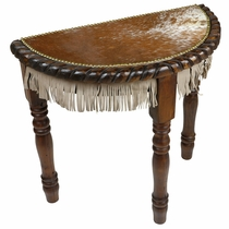 Western Cowhide Half Moon Accent Table