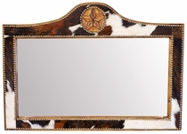 Western Lone Star Mirror with Cowhide Frame - Horizontal