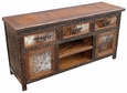 Western Rustic Cowhide Entertainment Console