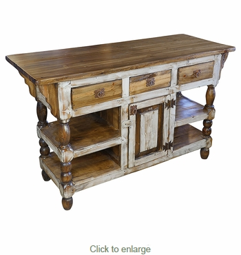 White Accent Turned Leg Rustic Wood Kitchen Island with Drawers