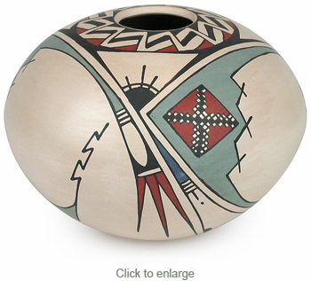 White Mata Ortiz Southwest Short Vase