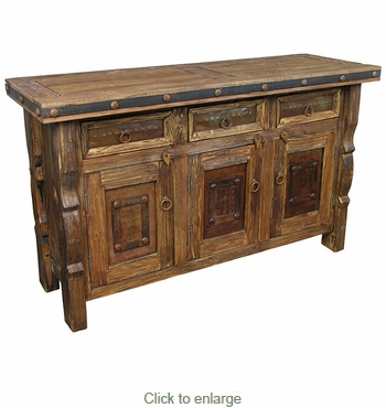 Wire Brush Old Wood Buffet with Ox Yoke Legs Iron Accents