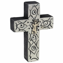Wooden Mexican Folk Art Metallic Painted Milagro Cross - Set of 2