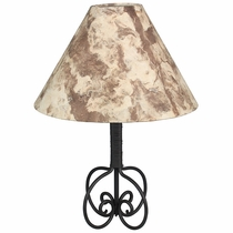 Wrapped Iron Table Lamp with Bark Paper Shade