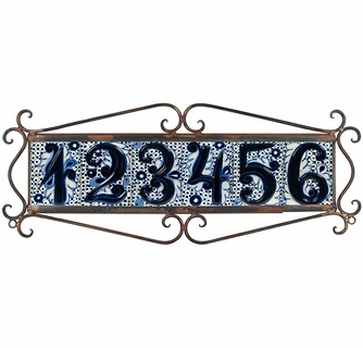 4 FLOWERS Mexican Ceramic Number Tiles /& Horizontal Iron Frame