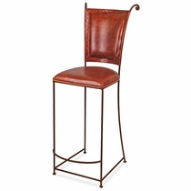 Wrought Iron Bar Stool Leather Seat And Back