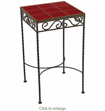 Wrought Iron - Red Talavera Tile Side Table - 9 or 12 Tiles