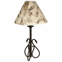 Wrought Iron Swan Table Lamp with Bark Paper Shade