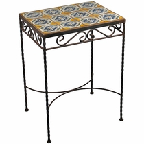 Wrought Iron - Talavera Tile Side Table - 12 Tiles - F